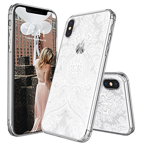 iPhone X Case, iPhone 10 Case, MOSNOVO Damask Henna Mandala Lace Pattern Printed Clear Design Transparent Plastic Back Case with TPU Bumper Protective Case Cover for iPhone X / iPhone 10
