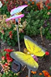 Solar Fiber Optic Butterflies of Two - Yellow and Pink