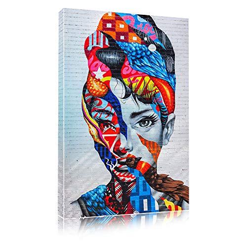 Faicai Art Audrey Hepburn Portrait Mural Wall Art Canvas Paintings Abstract Colorful Pop Art Street Art Prints and Posters Famouse People Graffiti Pictures for Modern Home Decor Wooden Framed 16