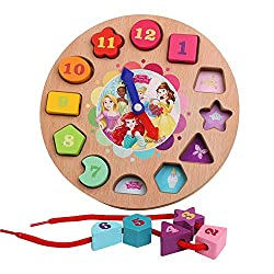GRACEON YunNasi Wooden Toys Alarm Clock Toys Beads Puzzle Wood Animal Model Digital String Montessori Early Educational Toys brinquedo