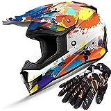 GLX Unisex-Child GX623 DOT Kids Youth ATV Off-Road Dirt Bike Motocross Helmet Gear Combo Gloves Goggles for Boys & Girls (Doodle Orange, Large)