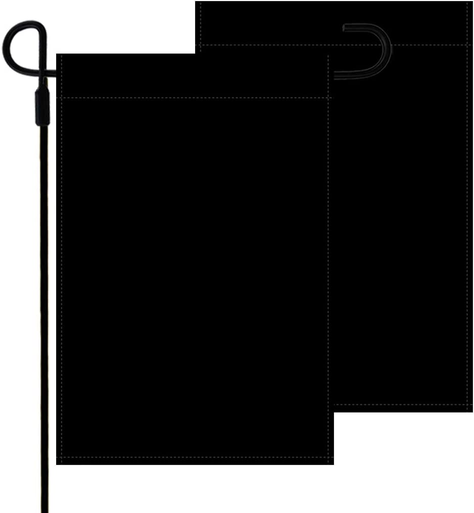 Yileqi 2pcs Solid Black Blank Garden Flags Double Sided Personalized Yard Flag, DIY Plain Garden Flags for Outdoor Decoration Black Lawn Flags 12.5 x 18 Inches Outside Blank Banner