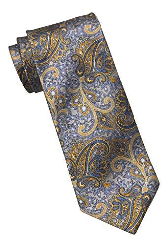 BRIONI Satin Powder Blue Gold Paisley 100% Silk Tie ()