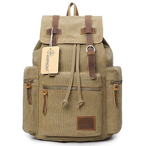 Vintage Canvas Backpack Laptop for Men Casual Bookbag for College (Khaki) - 3