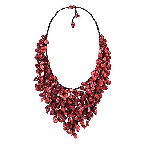 AeraVida Handmade Reconstructed Red Coral V-Shape Chandelier Necklace