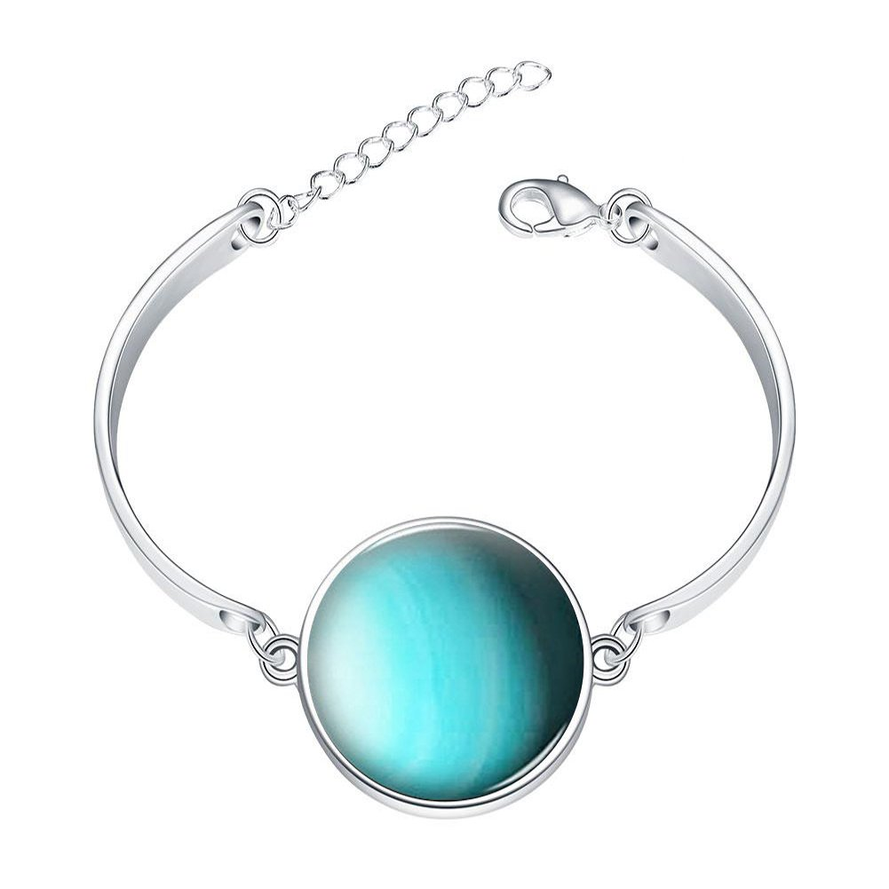 DOME-SPACE Adjustable Silver Bracelets Earth Environmental Protection Theme Hand Chain Link Bracelet Clear Bangle Custom Glass Cabochon Charm