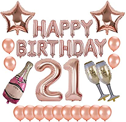 21st Birthday Party Supplies Kwayi Rose Gold Balloons Decorations Set With HAPPY BIRTHDAY Balloon Large Number 21 Foil Champagne And
