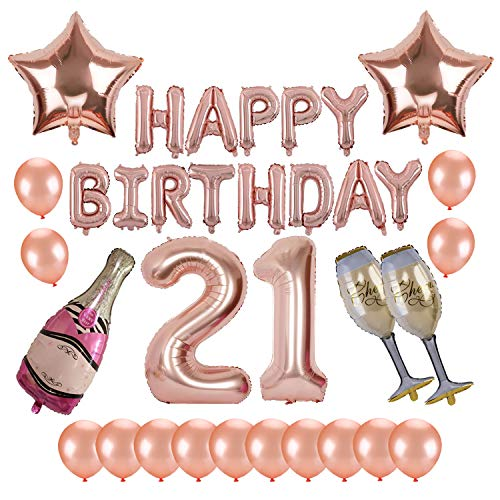 21st Birthday Party Supplies, Kwayi Rose Gold Balloons Decorations Set With HAPPY BIRTHDAY Balloon Large Number 21 Foil Balloon Champagne Foil Balloon And Latex Balloon 34PCS For Birthday -