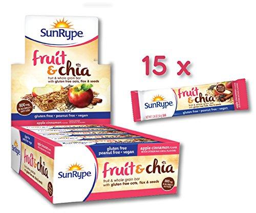 SunRype Apple Cinnamon Fruit & Chia Bars - Vegan, Gluten-Free, Kosher, Peanut-Free (Case of 15)