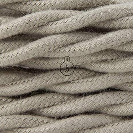 abat jour 1MT Cavo elettrico 2x0,75 Trecciato rivestito in tessuto color Tortora per lampadari Il cavo elettrico diventa design lampade