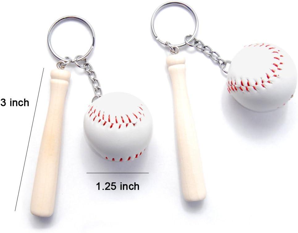 Béisbol y bate de madera llavero llavero, 7,62 cm Pack de 2: Amazon.es: Oficina y papelería