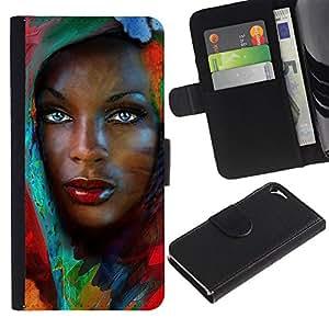 WonderWall Fondo De Pantalla Imagen Diseño Cuero Voltear Ranura Tarjeta Funda Carcasa Cover Skin Case Tapa Para Apple Iphone 5 / 5S - Muchacha africana con hojas de colores