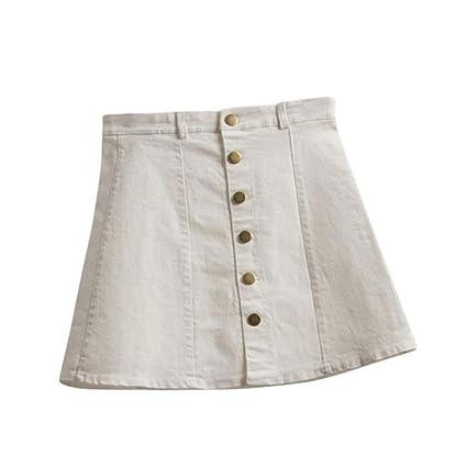 684a08b49 Faldas, Challeng Falda de la cintura de la moda de las mujeres falda de  mezclilla de estilo coreano (l, blanco)