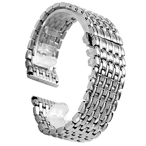 YISUYA Silver 20mm Stainless Steel Silver Tone Nine Bead Solid links Watch Band Strap For LONGINES Watch (Band Watch Bead)