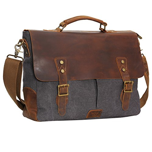 (WOWBOX 15.6 Inch Messenger Bag for Mens Vintage Canvas Leather Laptop Messenger Bags Men Business Briefcase Vintage Large Shoulder Bag School College Satchel (Gray))