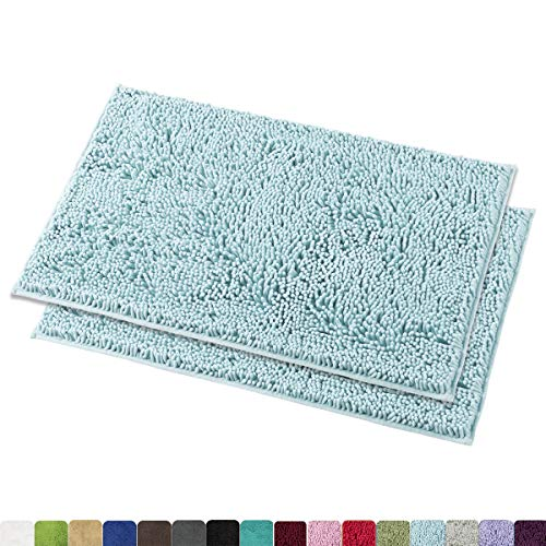 MAYSHINE Chenille Bathroom Rugs Extra Soft and Absorbent Shaggy Bath Mats Machine Wash/Dry, Perfect Plush Carpet Mat for Kitchen Tub, Shower, and Doormats (2 Pack - 20x32 inches, Spa Blue)