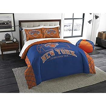 Image of B62830000 570B6783000001 EN 3 Piece NBA Knicks Comforter Full Queen Set, Basketball Themed Bedding Sports Patterned, Team Logo Fan Merchandise Athletic Team Spirit Fan, Blue Orange, Polyester Home and Kitchen