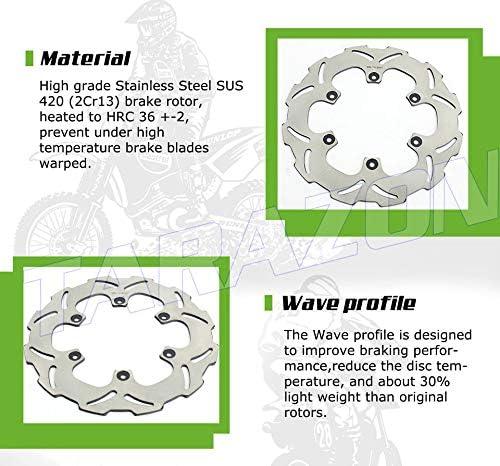 TARAZON Front Rear Brake Discs Rotors for Kawasaki KX250F KX450F KXF 250 450 2006-2015//KX 125 250 2006-2008//KLX450 R 2007-2017