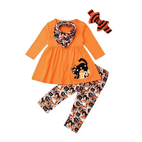 Toddler Kid Baby Girls Halloween Outfits Ghost Long Sleeve Blouse Top Dress Pants Leggings Clothing Set (4-5Y, Halloween
