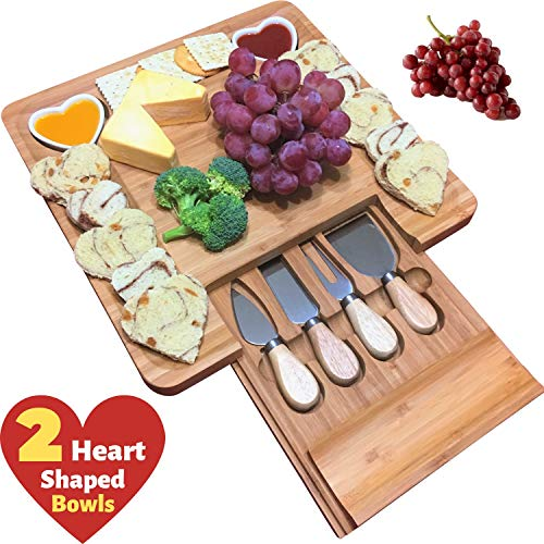 Unique gifts for Mom, Mothers, Women, Men Housewarming, Wedding, Birthday, Bamboo Cheese Board w/Cutlery Set, Wood Charcuterie Platter & Meat Server, 4 Stainless Steel Knife, 2 Bowls