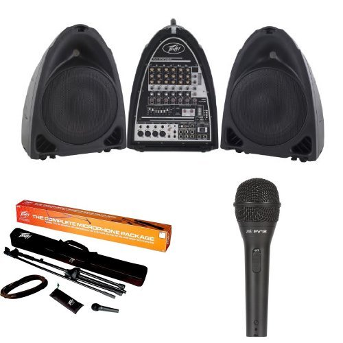 (Peavey Pvi Portable Sound System with Peavey MSP-1 Microphone and Stand package and Peavey Pvi 2 Microphone)