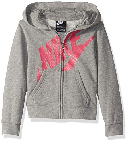 NIKE Children's Apparel Girls' Little Full-Zip Hoodie, Dark Grey Heather/Pink, 6X