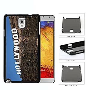 Hollywood Sign Santa Monica Mountains Vintage Pink Roses With Grunge Wood Surface Detail Hard Plastic Snap On Cell Phone Case Samsung Galaxy Note 3 III N9000 N9002 N9005