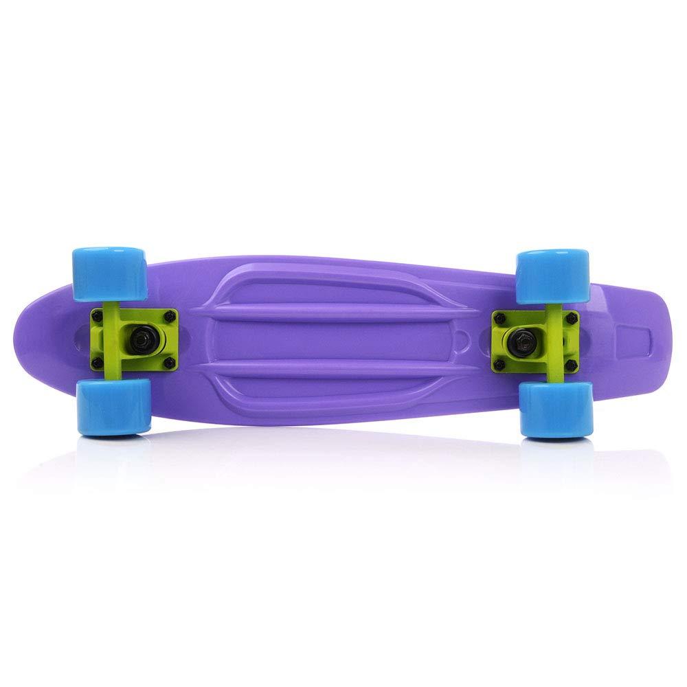 meteor Monopatín patineta Retro plástico Skateboard Completo niños jóvenes Adultos Mejor Calidad Robusto Ligero Ruedas un Buen Regalo