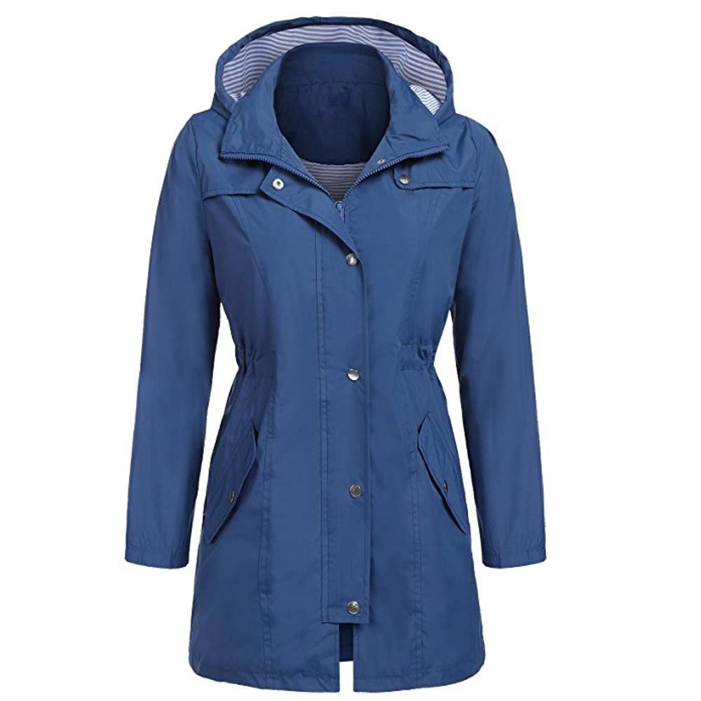 Shusuen Raincoat Women Waterproof Long Hooded Trench Coats Lined Windbreaker Travel Jacket Deep Blue by Shusuen_Clothes