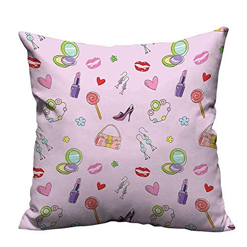 YouXianHome Throw Pillow Cover for Sofa Cute Girlish Fashi and Makeup Lollipop Flower Textile Crafts (Double-Sided Printing) 20x35.5 inch