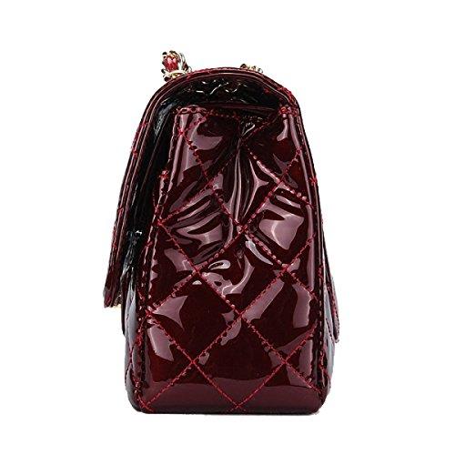 Patente Yy.f Bolsa De La Cadena Lingge Cuero Pequeño Bolso De Mano Brillante Viento Fragante Hombro Paquete Diagonal Paquete Salvaje La Bolsa 2 De Color Red
