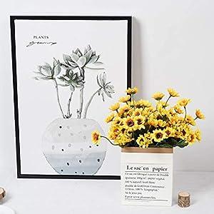 DearHouse 6pcs Artificial Sunflowers Bouquet, Wedding Flower Bouquet Sunflower Yellow Sunflower Silk Flower Arrangement for Home Kitchen Floor Garden Wedding Decor 3