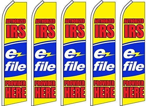 5 Swooper Flutter Feather Flags AUTHORIZED IRS EZ FILE PROVIDER HERE Yellow Red Blue