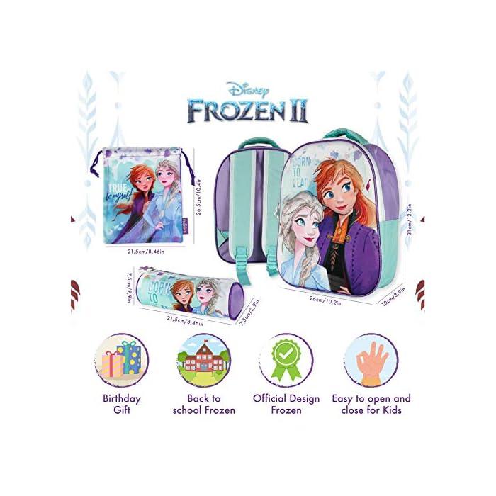 51wN1WfechL ❄️ PACK 3 PRODUCTOS ESCOLARES – Diseño Frozen 2. Ideal para niñas a partir de 3 años. Distintas medidas para diferentes usos a lo largo del día. Mochila escolar con tirantes: 26 x 31 x 10 cm. Bolsa de merienda: 26,5 x 21,5 cm. Estuche escolar: 21,5 x 7,5 x 7,5 cm. Material tela de poliéster resistente y ligero. Todos los productos son fáciles de usar para los niños ❄️ MOCHILA ESCOLAR INFANTIL – Parte frontal de la mochila con diseño en 3D de Patrulla Canina creando divertidos detalles e impactantes efectos de colores. El tamaño es idóneo para niñas de 3 a 6 años, para usar en el colegio o actividades extraescolares. Las tiras pueden regularse y ajustarse según la altura del niño ❄️ BOLSA PARA MERIENDA – Con cierre de cuerdas a los lados. En colores verdes y morados con dibujo de Elsa y Anna. Esta mochila infantil es ideal para meter el almuerzo o merienda de los niños, también se puede usar en parvulario o para guardar juguetes. Su diseño de cuerdas permite que los niños puedan abrir y cerrar la mochila ellos solos