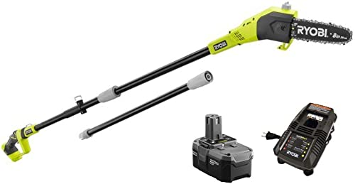 Ryobi ZRP4361 One 18-Volt 9.5 ft. Cordless Electric Pole Saw Kit – P105 Upgraded from P102 Battery P118 Charger Renewed