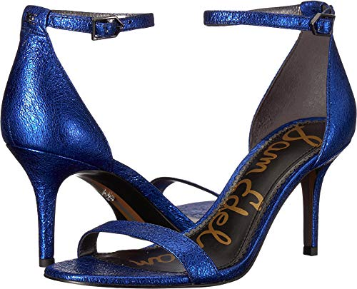 Crinkle Leather Heels - Sam Edelman Women's Patti Royal Blue Soft Crinkle Metallic Leather 7 M US