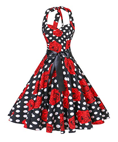V Fashion Women's Vintage 1950s Halter Neck Polka Dot Audrey Hepburn Dress 50s Retro Swing Dresses with Belt,White Dot Red - Dot 50s Polka