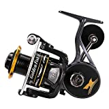 linewinder Fishing Reel, Spinning Reel with Magnesium Alloy Supporter, 9+1BB, Golden Black Unique Design, Ultralight Weight, Super Smooth for Saltwater and Freshwater GFII5000/4000/3000/2000
