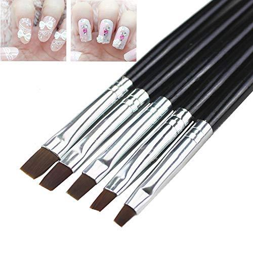 Renovatio Nails - Nail Art Brush 5pcs Nail Art Design Set Dotting Painting Drawing Polish Brushes Pen Tools Nail Brushes for UV Nail -