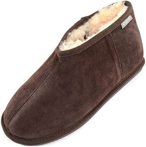 SNUGRUGS Benji, Sheepskin Slipper Boot, Zapatillas de Estar por Casa para Hombre Marrón - marrón