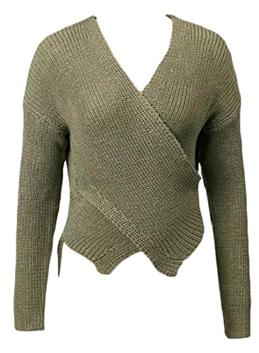 V-Neck Belted Cotton Sweater - 5