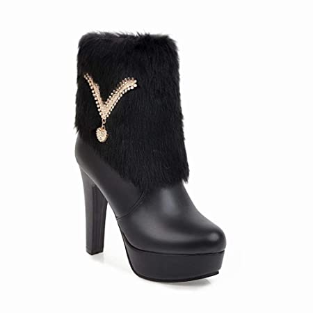 c2b397b19c0b HhGold Women s Boots - Thick Ankle Booties High Heel Platform Martin Boots Low  Boots Pink 34-43 (Color   Black