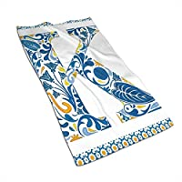 GULTMEE Abstract Artistic Leaves and Blooms and Capital Initial K Ornate Alphabet,Hand Towels Washcloth Towels Face Towels, Gym, 27.5 Inch X 12 Inch