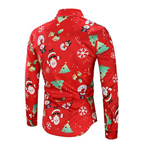 Forthery Men's Christmas Santa Claus Holiday Button Down Dress Shirts(Red, US Size M = Tag L)