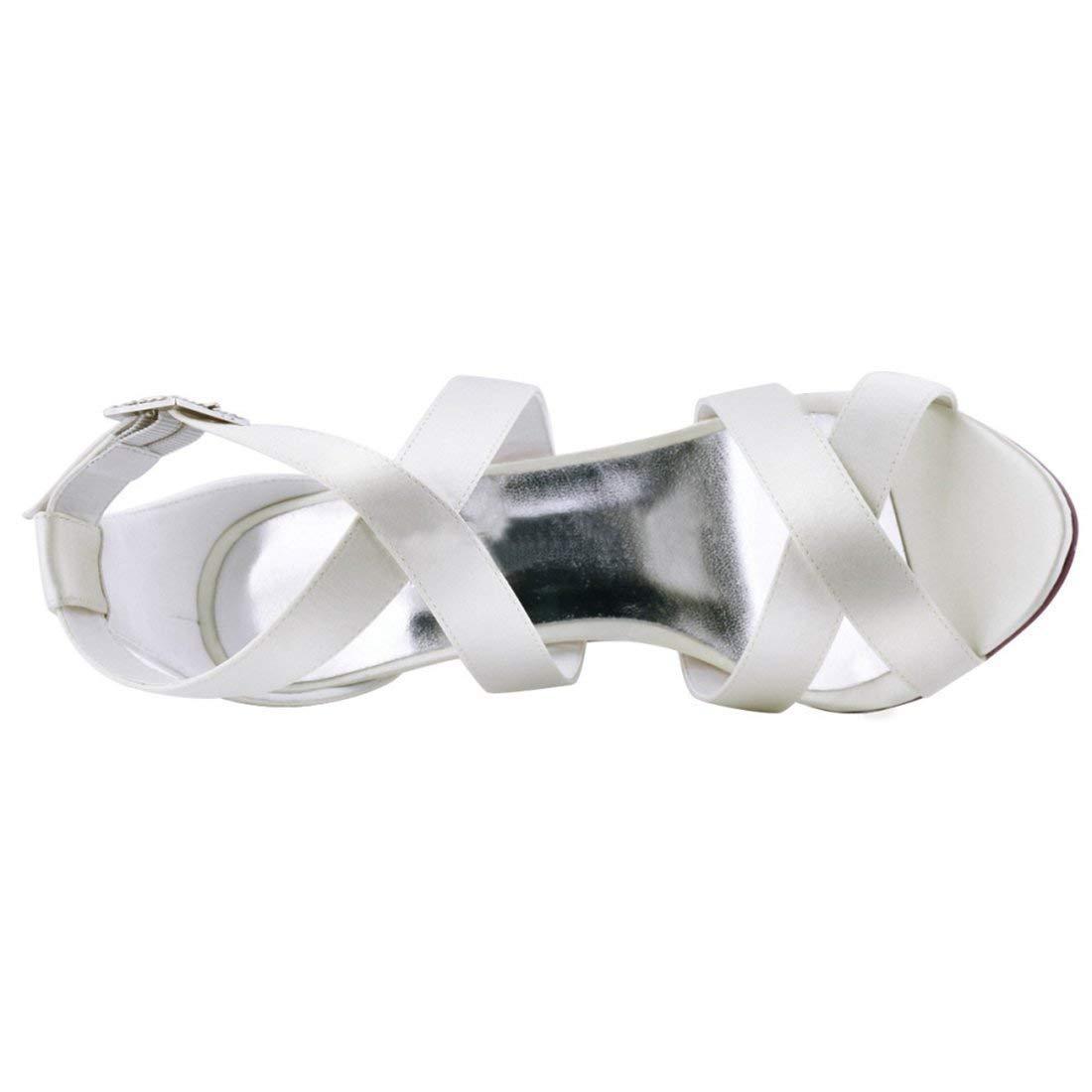 ZHRUI ZHRUI ZHRUI Damen Schnalle Ankle Wrap Weiß Satin Trendy Hochzeitskleid Sandalen UK 7.5 (Farbe   -, Größe   -) b8a065