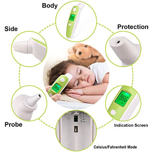 BuySevenSide Ear Thermometer with Forehead Function,Digital Laser Infrared Thermometer Temperature Gun Instant Read Accuracy Professional Temperature for Children and Adults with Fever Indicator by BuySevenSide (Image #7)