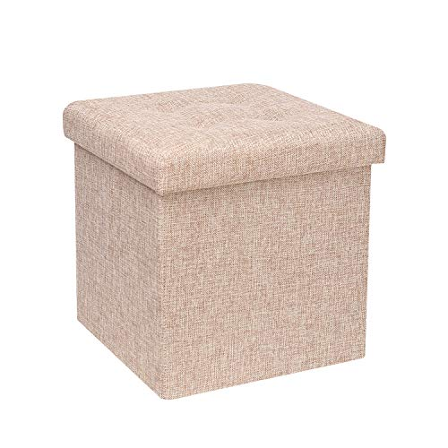 B FSOBEIIALEO Storage Ottoman Cube, Toy Chest Folding Footrest Stool Seat, 12.6