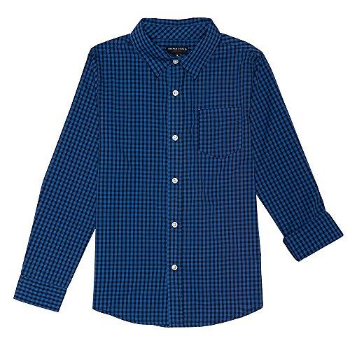 French Toast Boys' Little Long Sleeve Woven Yarn-dye Shirt, Navy Blue Check, 6
