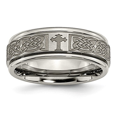 Titanium Ridged Edge Cross - 8mm Ridged Edge Laser Engraved Celtic Weave Cross Titanium Wedding Band - Size 9.5