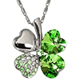 "Dahlia Four Leaf Clover Necklace with Swarovski Crystals, Rhodium Plated, 16"" w 2"" Extender, Green"